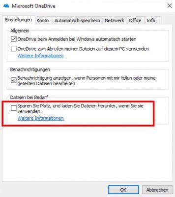 OneDrive als FileServer Dateien bei Bedarf laden